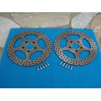 "11 1/2"" STAR SATIN FRONT BRAKE ROTOR PAIR FOR HARLEYS 1984-UP WITH FREE BOLTS"