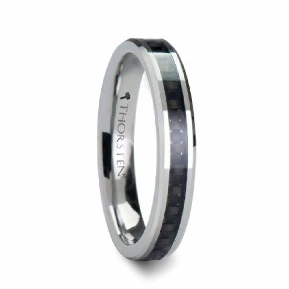Thorsten Maximus Tungsten Carbide Wedding Band Ring with High Tech Black Carbon Fiber Inlay Polished Edges 8mm Width from Roy Rose Jewelry