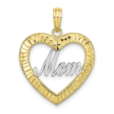 10K Yellow Gold VERY SPECIAL MOM Heart Charm Pendant from Roy Rose Jewelry