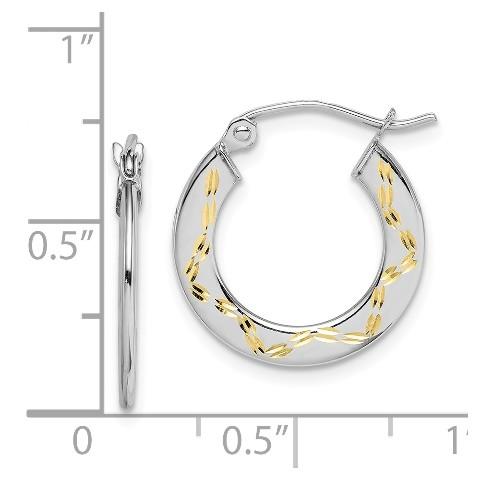 14K and Rose Rhodium Heart Diamond-Cut Hoop Earrings
