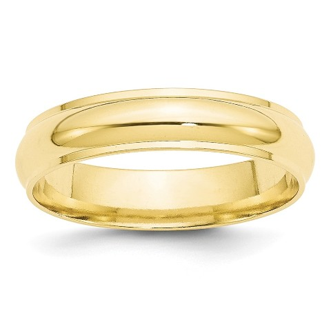 Mens 14K Yellow Gold 3mm Milgrain Half Round Wedding Band Ring