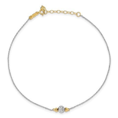 14k Two-Tone Beaded Polished Spring Ring Sparkle-Cut Gold Circle Chain With Mirror Beads W// 1in Ext Anklet 9 Inch