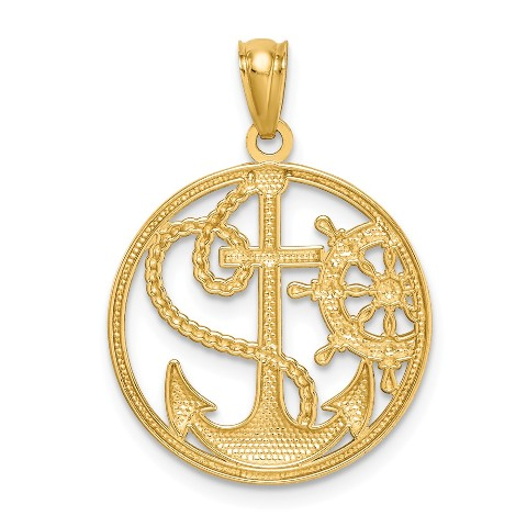 10K Yellow Gold Cross In Frame Charm Pendant from Roy Rose Jewelry