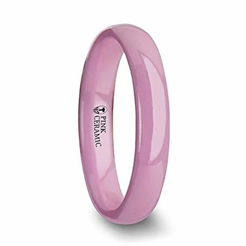 4 mm Wide Wedding Band from Roy Rose Jewelry Thorsten Coral Domed Polish Finish Pink Ceramic Ring