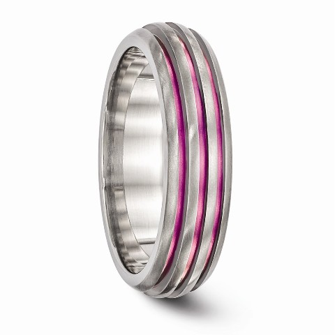 Roy Rose Jewelry Edward Mirell Jewelry Collection Titanium Triple Groove Pink Anodized Ring Size 5