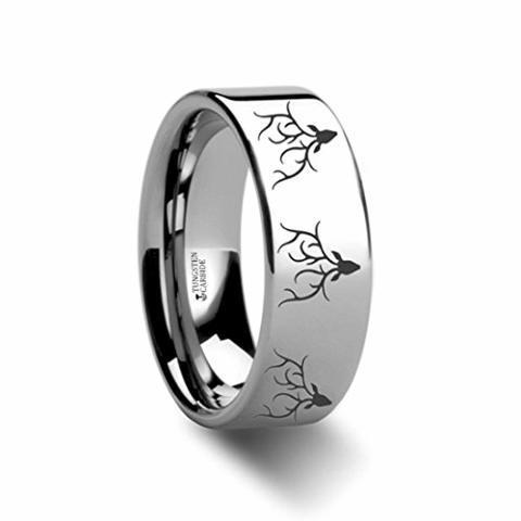 Thorsten Deer Track Animal Track Deer Hoof Print Flat Black Tungsten Ring 8mm Wide Wedding Band from Roy Rose Jewelry