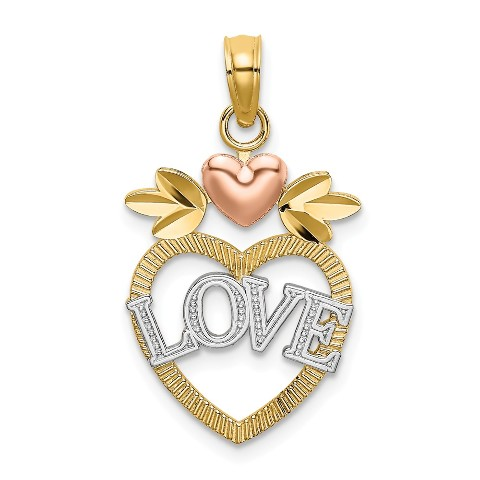 Roy Rose Jewelry 14K Rose Gold Heart Disc Charm