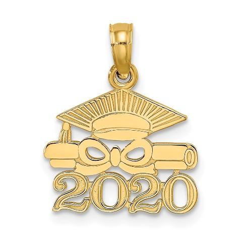 New 14k Yellow Gold Graduation Cap Charm Pendant