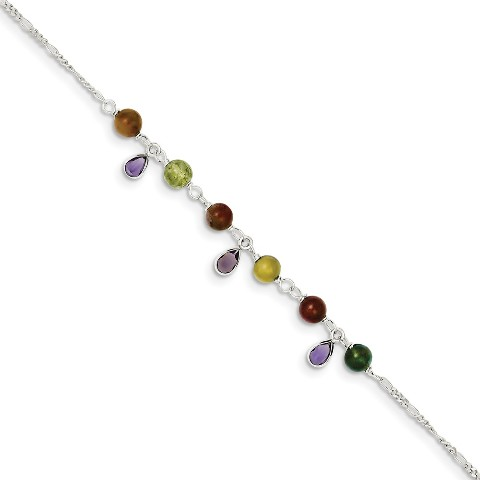 Sterling Silver 9in Polished Fancy Beaded Anklet