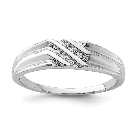 Roy Rose Jewelry Sterling Silver Diamond Mens Ring