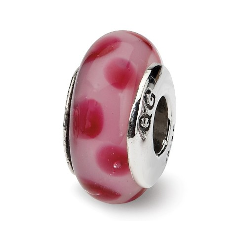 Sterling Silver s Pink//red Scribbles Hand-blown Glass Bead by Reflection Beads