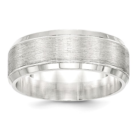 Titanium Sterling Silver Inlay 8mm Brushed Band Best Quality Free Gift Box
