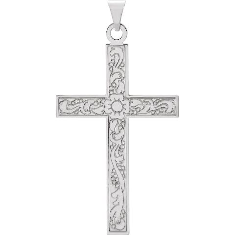 14K White Gold Laser Designed Cross Charm Pendant from Roy Rose Jewelry