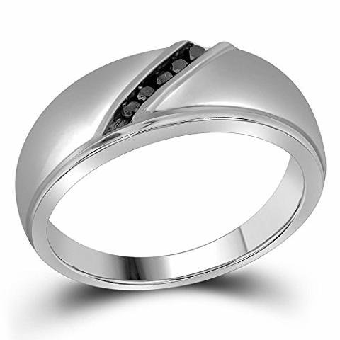 Details about 10k White Gold Mens Black Color Diamond Band Fashion Ring 1/8  Carat tw