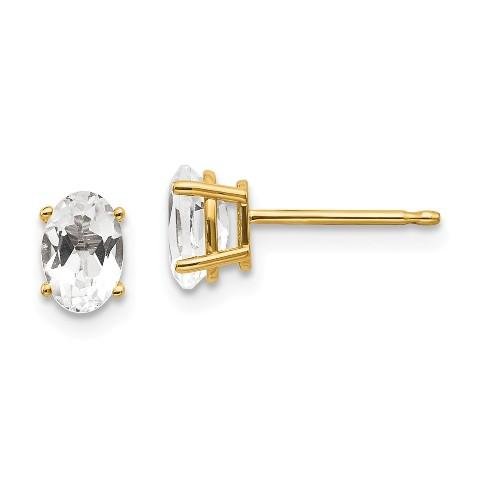 14k White Gold White Zircon Earrings April