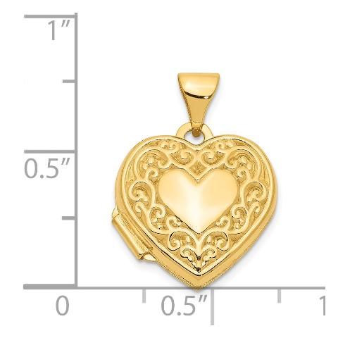 14K Yellow Gold 15mm Heart Foot Prints Locket 15x15mm 0.77gr