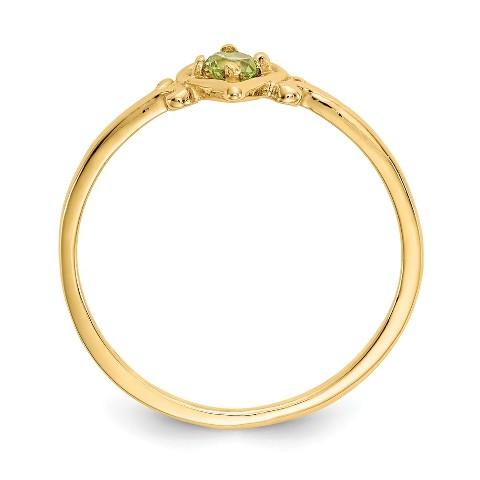 Roy Rose Jewelry 14K Yellow Gold Madi K 3mm Peridot Heart Birthstone Necklace