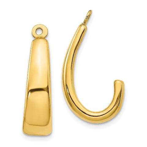 Details About 14k Yellow Gold J Hoop Earring Jackets