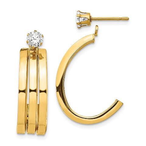 14K Yellow Gold Hoop Earring Jackets Jewelry