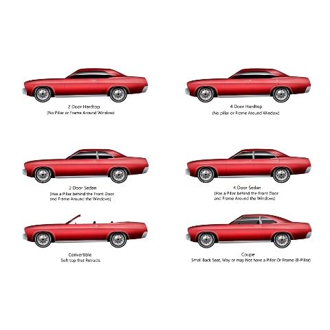 Window Sweeps Felt Kit for Chevrolet Impala 1969-1970 Hardtop Authentic 4pcs