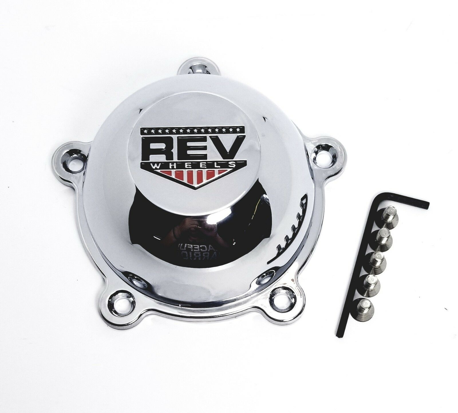 4x American Racing Chrome Bullet Center Hub Caps 5 Ear for Torq Thurst II Wheels