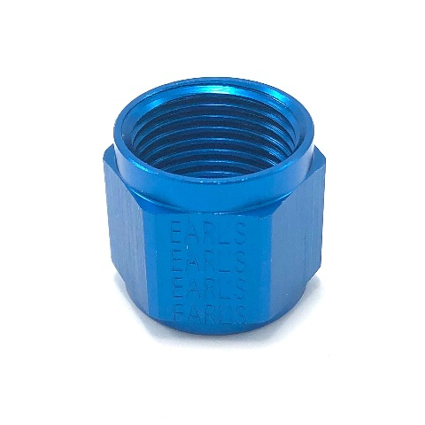 Earl's Performance Fitting Tube Nut 10 AN 5/8 in Tube Aluminum Blue Anodize