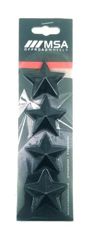 Set of 4 Black MSA Off-Road Wheels Center Cap Stars fits All MSA-CAP Styles