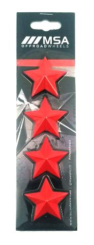 Set of 4 Red MSA Off-Road Wheels Center Cap Stars fits All MSA-CAP Styles