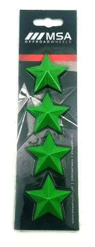 Set of 4 Green MSA Off-Road Wheels Center Cap Stars fits All MSA-CAP Styles