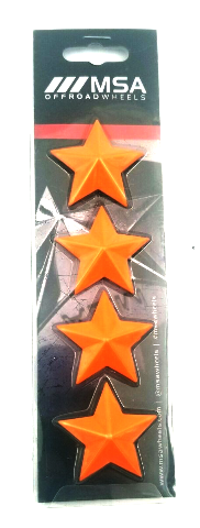 Set of 4 Orange MSA OffRoad Wheels Center Cap Stars fits All MSA-CAP Styles