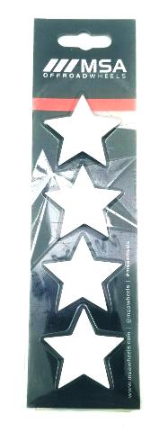Set of 4 White MSA Off-Road Wheels Center Cap Stars fits All MSA-CAP Styles