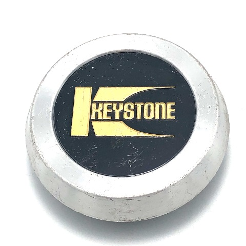 "Keystone Cragar Wheel Center Hub Cap 3"" OD Snap In Machined w/ Black & Gold Logo"
