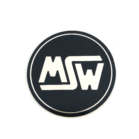 """MSW Logo with Adhesive Back 2-3/8"""" Diameter Black & Machined Chrome"""