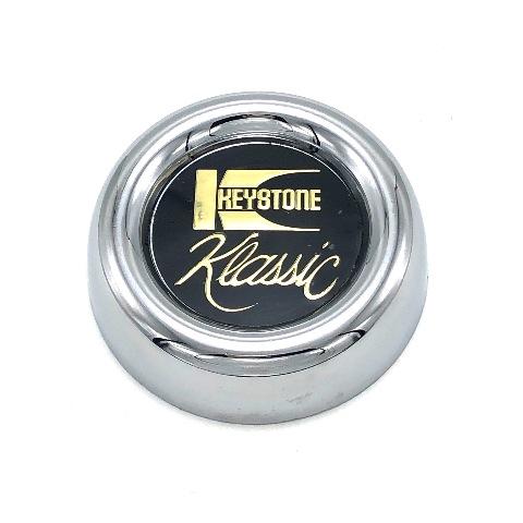 "Keystone Klassic Wheel Center Cap 2.75"" OD Chrome with Vintage Black & Gold Logo"