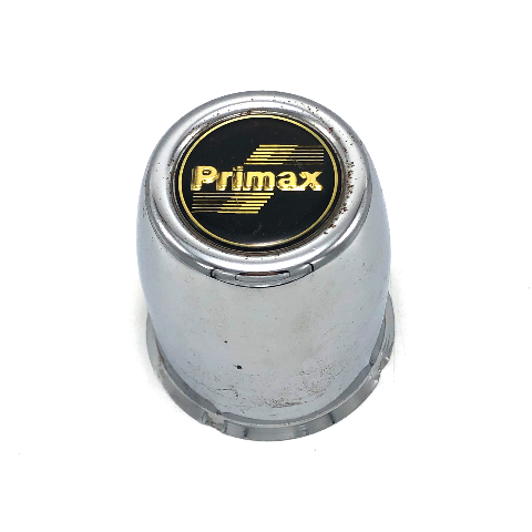 "Primax Wheel Center Hub Cap 3.27"" Push Thru Metal Chrome with Black & Gold Logo"