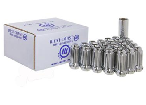 West Coast 6 Lug Installation Kit Set of 24 14mmx1.5 Spline Lug Nuts + Key