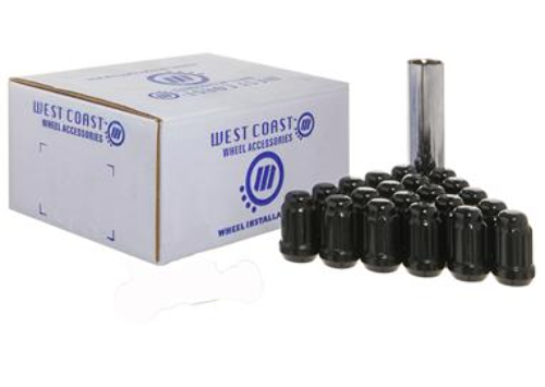 "West Coast 5 Lug Wheel Installation Kit Set of 20 1/2""x20 Spline Lug Nuts + Key"
