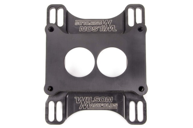 Carburetor Adapter - Lightweight - 1 in Thick - 2 Hole - Holley 2-Barrel to Square Bore - Aluminum - Black Anodize - Each