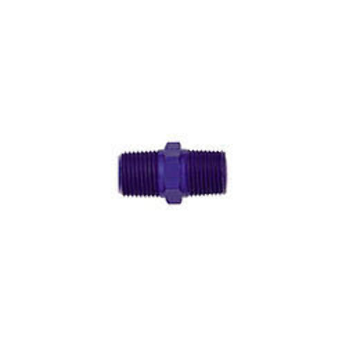 Fitting - Adapter - Straight - 1/8 in NPT Female to 1/8 in NPT Female - Aluminum - Blue Anodize - Each