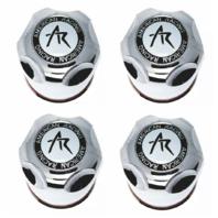 "Set of 4 American Racing Center Cap 4.25"" Push Thru Dome Chrome Plastic 1425000S"