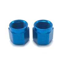 Set of 2 Earl's Tube Nut 6 AN 3/8 in Tube Aluminum Blue Anodize 581806ERLP