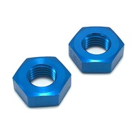 Set of 2 Earl's 592403ERL Bulkhead Fitting Nut 3 AN Aluminum Blue Anodized
