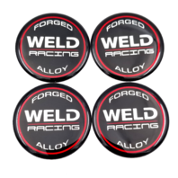 Set of 4 Weld Racing 601-3010 Gloss Black Wheel Center Cap Racing Emblem / Logo