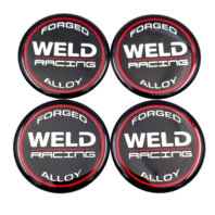 "Set of 4 Weld Racing Forged Alloy 2"" Wheel Center Cap Emblem Logo 50mm 301-3010"
