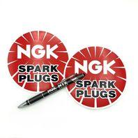 "Set of 2 NGK Spark Plugs 5"" Round Vinyl Decal Tool Box Sticker Emblem + Pen"