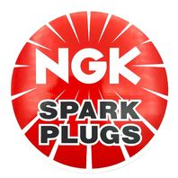 "NGK Spark Plugs 5"" Round Vinyl Decal Tool Box Sticker Emblem Red White Black"