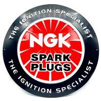 "NGK Spark Plug Metal Sign 17.5"" Round The Ignition Specialist Garage Shop Decor"