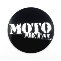 "1x Moto Metal 1.80"" (44mm) OD Gloss Black Wheel Center Hub Cap Logo Sticker"