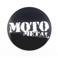 "One Moto Metal 1 3/4"" (44mm) OD Gloss Black Wheel Center Hub Cap Logos/Stickers"