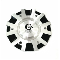 "Granite Alloy Wheel Rim Center Hub Cap 7.5"" Black & Machined C-VR4-BM"